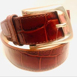 Nine West red/brown embossed reptile leather belt